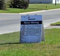 Red Deer Now Hiring Sign