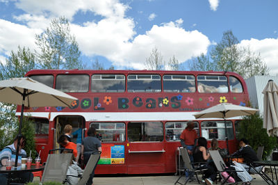Cool Beans Double Decker Coffee Bus On Gaetz Ave. In Red Deer, AB